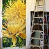 Giant Yellow Flowers oil on canvas 50x108'' Jessica Siemens