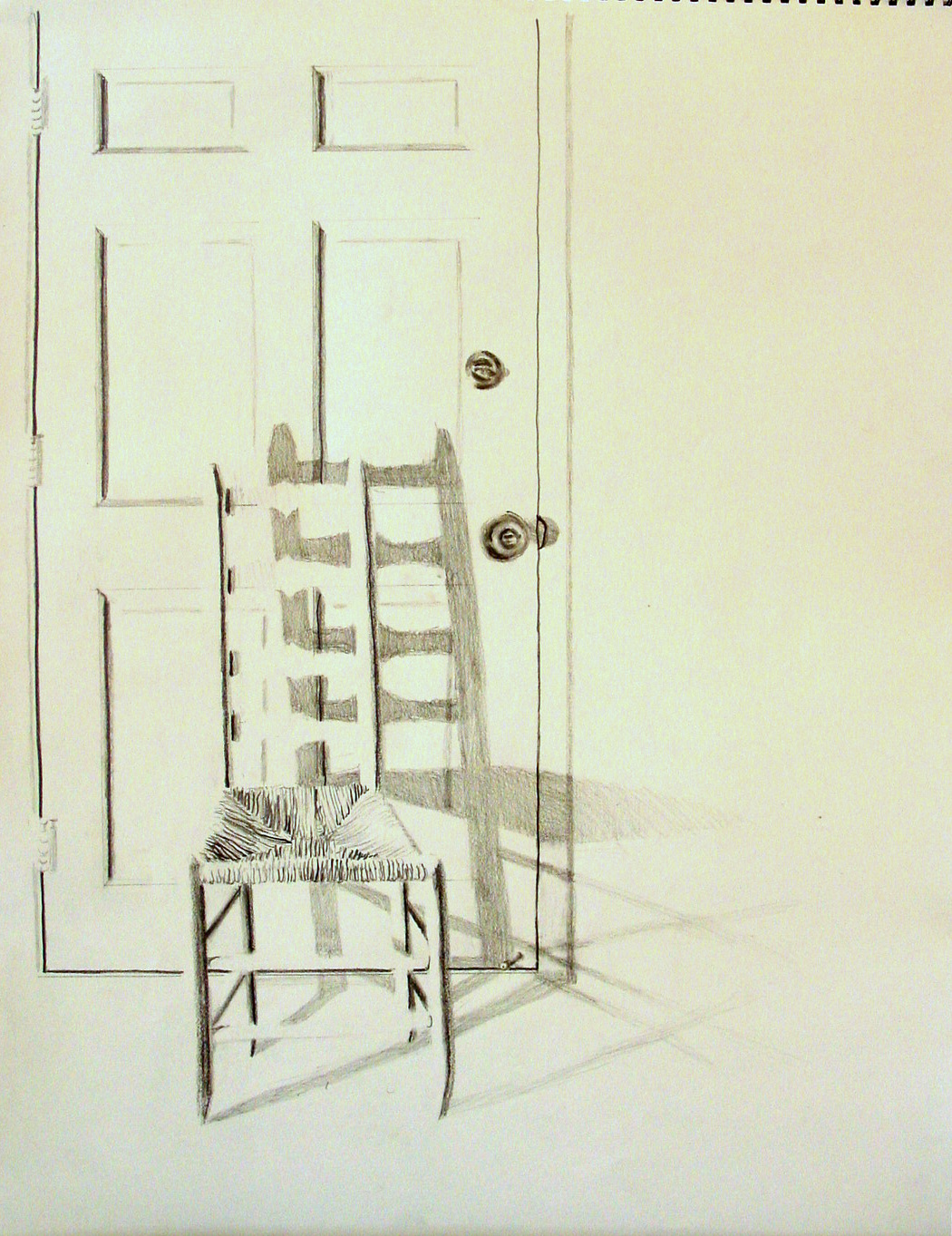 Door pencil drawing - Chair And Door Still Life Pencil 18x24 Jessica