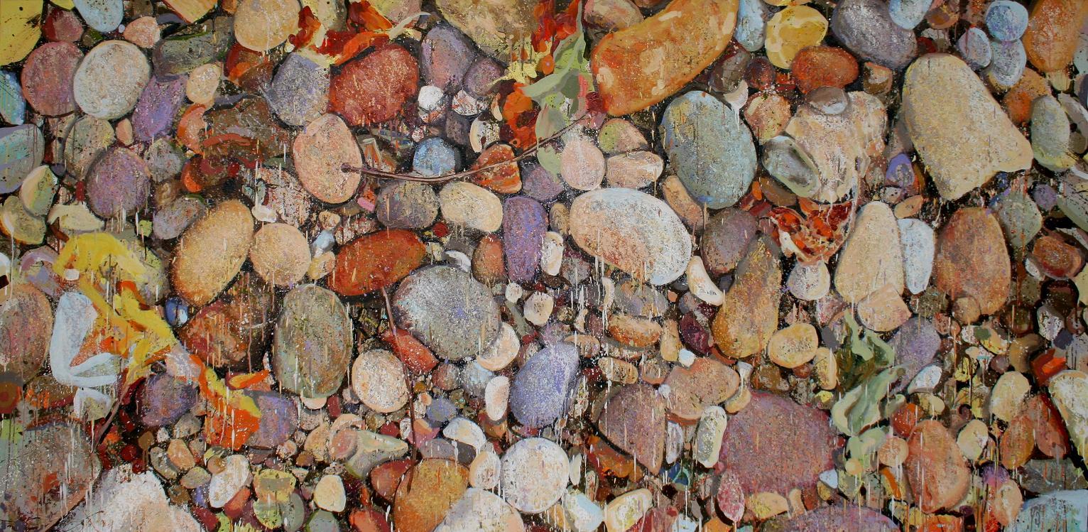 Pastel Splatter Rocks In Progress