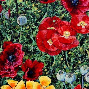 Poppies Pannel 1 oil on canvas Jessica Siemens 2011