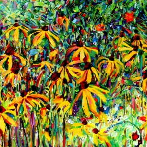 Panoramic Yellow Daisies, 2009, oil on canvas, 30x70in, Jessica Siemens