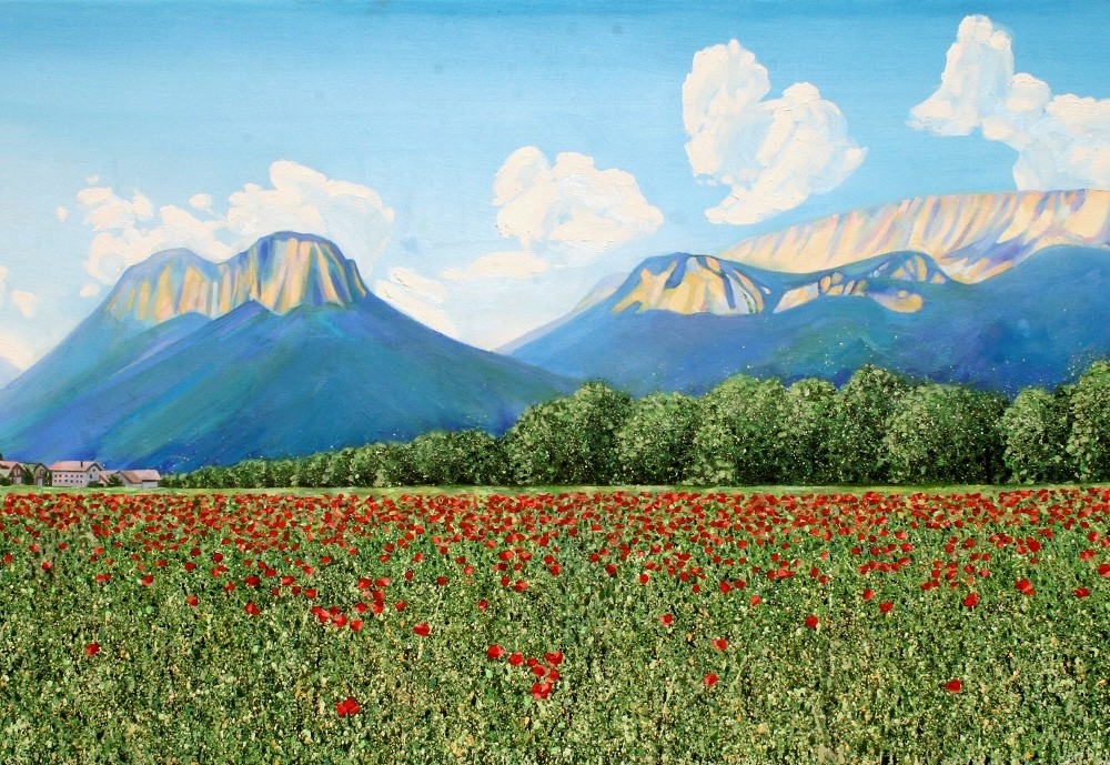 French Alps and Poppy Field