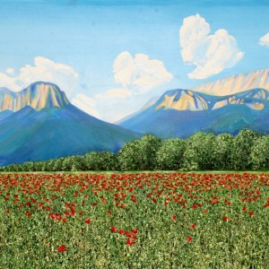 French Alps and Poppy Field, oil on canvas, 64 x 34 inches, Jessica Siemens 2012